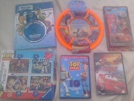 Disney Pixar Toy Bundle New Flying disk + DVD + Jigsaws + Book with CD + Toy Story DVD
