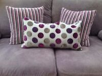 Purple Stripe and Spots Cushions Feather filled sofa pillows