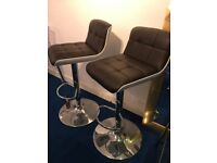 2 x Brown Leather Bar Stools, Faux Leather PU Swivel