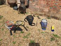 Selection of tennis rackets, rounders bat badmington rackets ect