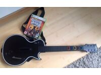 Xbox 360 Guitar Hero Wireless Black Les Paul Guitar Hero Guitar, strap, and Guitar hero Game