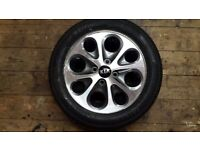 Alloy wheel and brand new tyre wheel been marked aroung edge also have a key fob for same