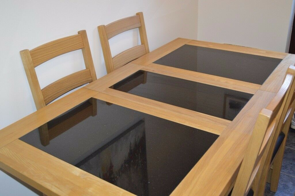 Harvey S Solid Oak And Granite Extending Dining Table With