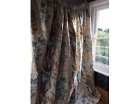 Harlequin fabric fully lined curtains cream, gold, teal
