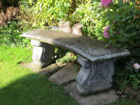 Garden bench seat - cast concrete