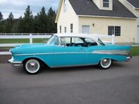Chevy Bel Air 1957 2 x Steel Wheels with WhiteWall Tyres & 4 x Chrome Trims classic American
