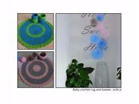 Handmade blue - green baby rug