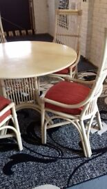 Rattan Kitchen table and four chairs
