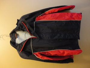 Boy's blue and red spring fall light jacket coat with hood NEW