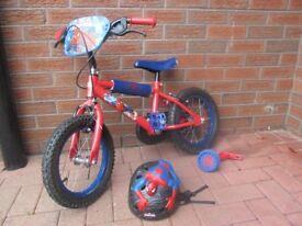 Childs Spiderman bike and spiderman helmet