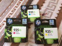 HP 935 XL cartridges (cyan, magenta and yellow)