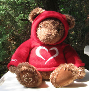 GUND MILLENNIUM PLUSH TEDDY  BEAR 2000 RED SWEATER HECHT'S
