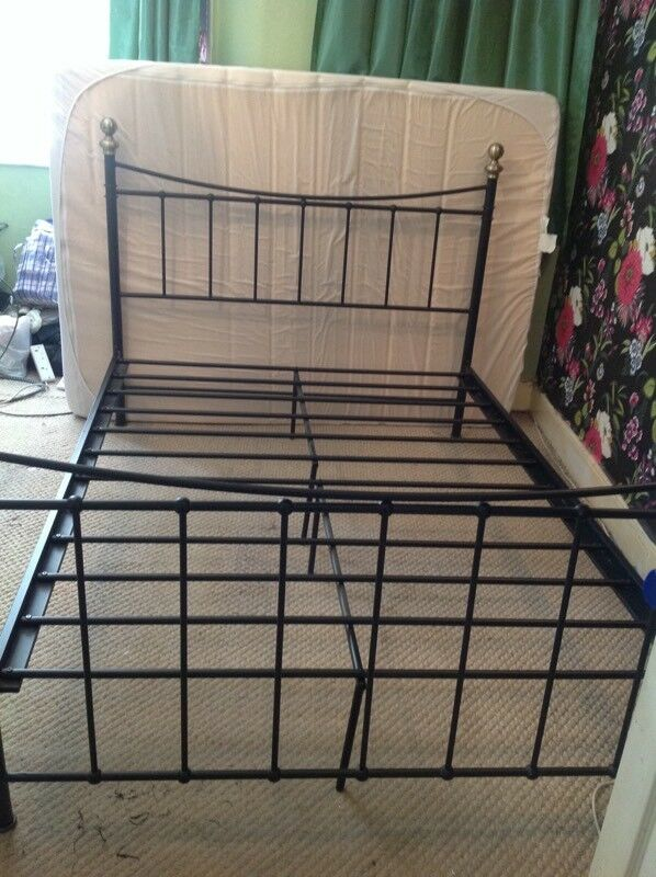 Metal Bed Frame In Satin Black And Antique Gold Bed Frame Only