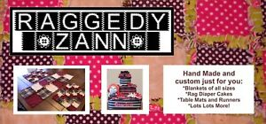 Raggedy Zann Custom rag quilts, diaper cakes, and table runners