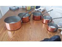 Antique french copper saucepans
