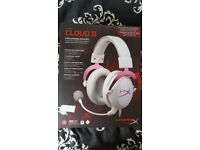 HyperX Cloud II Gaming Headset PC/PS4/Mac/Mobile (White & Pink) . Excellent Condition!