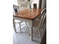 Solid Pine Chunky Dining Table & 4 Chunky Chairs