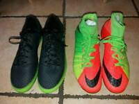 Two pairs boys Nike sick and Messi football boots. Excellent condition
