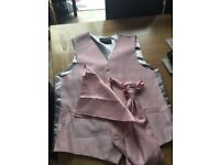 Waistcoat , cravat, hanky, worn for few hrs excellent condition in baby pink