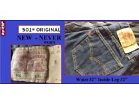 NEW Levis 501 Denim Jeans Original Fit Dark Blue Never Worn BARGAIN
