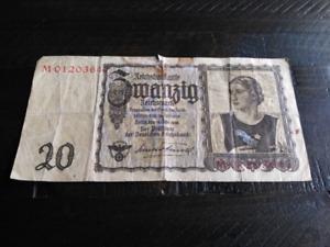 WW2 German 20 Reichsmark banknote