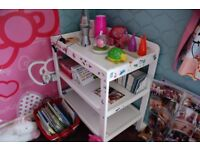 White wood changing table