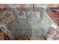 "Stealth Mounts 1000mm Clear Glass & Chrome Legs TV Stand for TVs up to 50"" RRP £70"