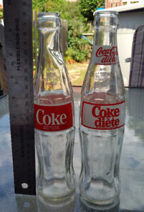 2 VINTAGE COCA-COLA DIET COKE Soda 9 1/2 Inch Glass Bottles