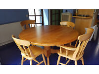 Extending Pine Dining/Kitchen Table with 6 chairs