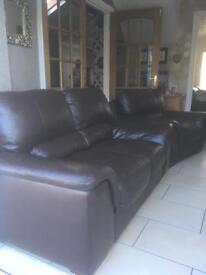 Brown leather 2+1 couch