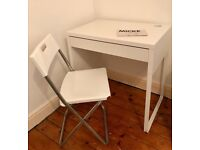 LIKE NEW!!! IKEA Micke Desk Table AND Gunde Folding Chair Stool Home Office Student