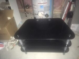 coffee table black glass and chrome