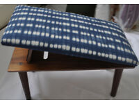 Retro vintage footstool upholstered in Harlequin fabric