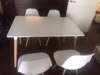 Modern white dining table + 4 chairs for sales