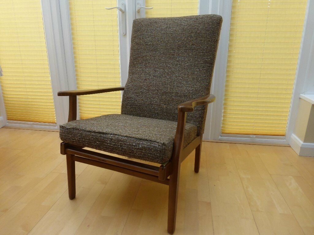 Wooden armchair with cushion - High Back Wooden Frame Armchair Brown Fabric Seat Cushion And Back Rest