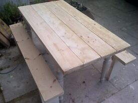 thick top 5ft table and benches rustic farmhouse shabby chic