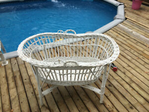 Antique wicker bassinet