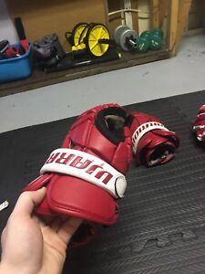 Red warrior lacrosse gloves