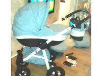 limited edition baby blue pram carseat and base & stroller £375 ONO