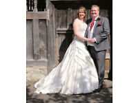 Stunning crushed silk oyster wedding dress fit size 12