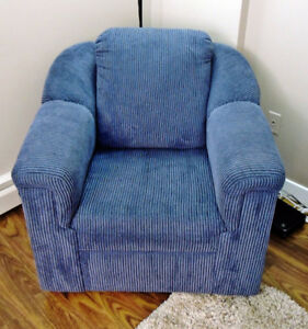 Very comfy navy armchair (option: matching couch)