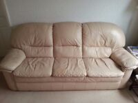 3 PIECE LEATHER SUITE - 3 seater sofa, plus 2 chairs