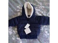 *NEW Baby boys 3-6mnths navy coat