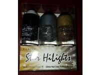 Nail varnish glitter gold, silver & black 48 units