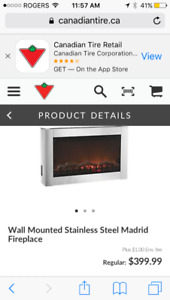 Active flame electric wall mount fireplace