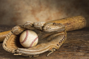 Wanted Wooden Bat, Old Ball Glove and Ball