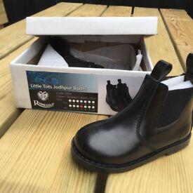 Rhinegold little tots jodhpur boots, black infant size 7. Brand new in original box