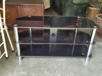 Black Glass & Chrome TV unit