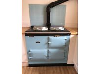 AGA De Luxe model: Two Oven Oil Aga in Pastel Blue & Chrome Lids