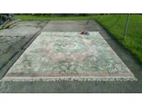 Pink Hand carved Chinese silk wool rug